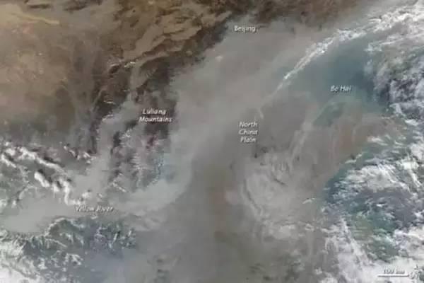 從衛星看地球的中國霧霾嚴重